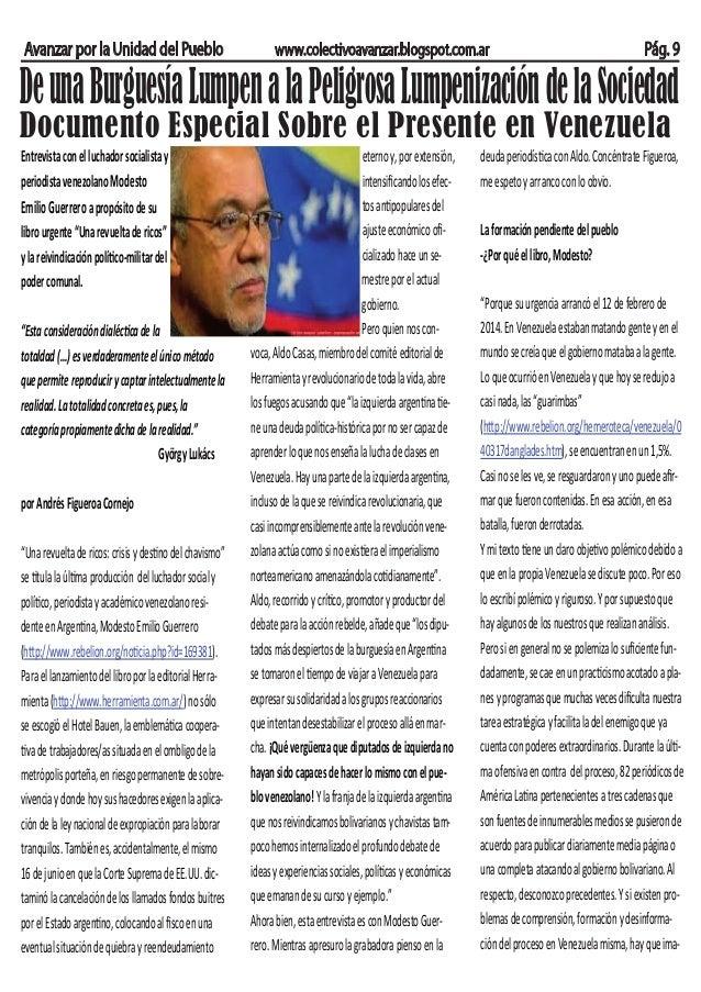 Avanzar por la Unidad del Pueblo www.colectivoavanzar.blogspot.com.ar Pág. 9 DeunaBurguesíaLumpenalaPeligrosaLumpenización...