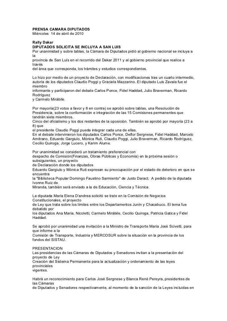 PRENSA CAMARA DIPUTADOS Miércoles 14 de abril de 2010  Rally Dakar DIPUTADOS SOLICITA SE INCLUYA A SAN LUIS Por unanimidad...