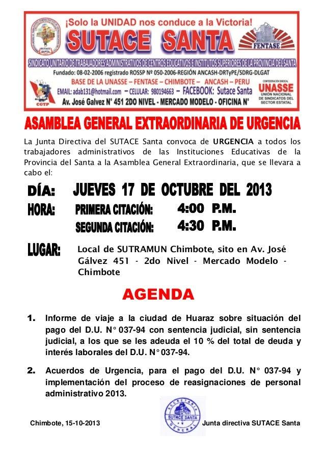 La Junta Directiva del SUTACE Santa convoca de URGENCIA a todos los trabajadores administrativos de las Instituciones Educ...