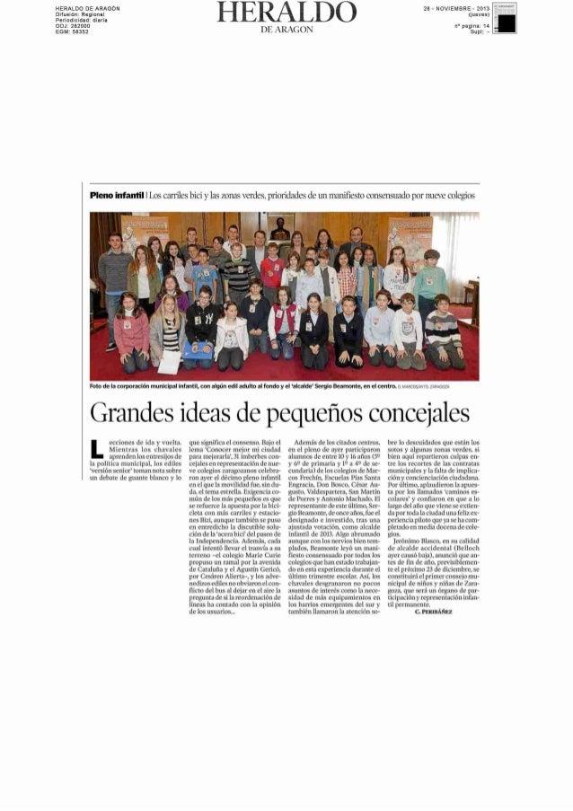 acepta el uso de cookies.  aragondigital.es 27/11/2013  Zaragoza  Rocío Solanas Sánchez  27/11/2013  El Pleno infantil rec...