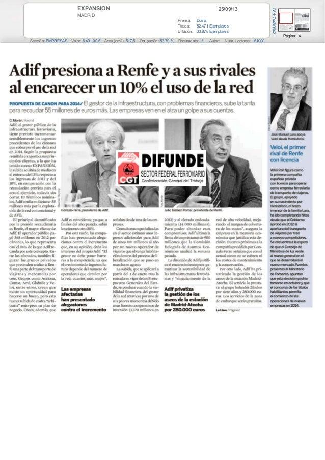 25/09/13EXPANSION MADRID Prensa: Diaria Tirada: 52.471 Ejemplares Difusión: 33.878 Ejemplares Página: 4 Sección: EMPRESAS ...