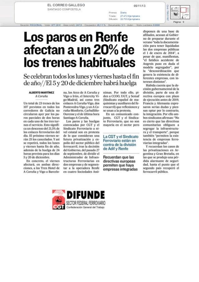 05/11/13  SANTIAGO COMPOSTELA Prensa: Diaria Tirada: 27.472 Ejemplares Difusión: 22.735 Ejemplares  Cód: 75921167  EL CORR...