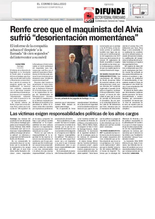 EL CORREO GALLEGO  Cód: 76159697  13/11/13  SANTIAGO COMPOSTELA Prensa: Diaria Tirada: 27.472 Ejemplares Difusión: 22.735 ...