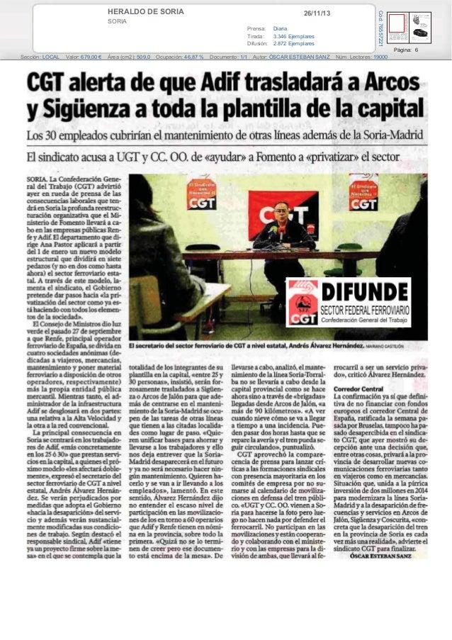 26/11/13  SORIA Prensa: Diaria Tirada: 3.346 Ejemplares Difusión: 2.872 Ejemplares  Cód: 76557221  HERALDO DE SORIA  Págin...