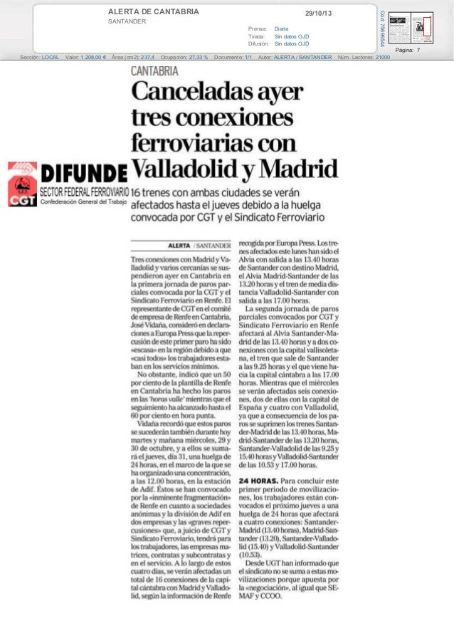 29/10/13  SANTANDER Prensa: Diaria Tirada: Sin datos OJD Difusión: Sin datos OJD  Cód: 75696544  ALERTA DE CANTABRIA  Pági...