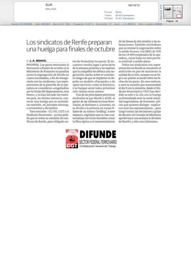 04/10/13SUR MALAGA Prensa: Diaria Tirada: 28.400 Ejemplares Difusión: 23.481 Ejemplares Página: 33 Sección: ECONOMÍA Valor...