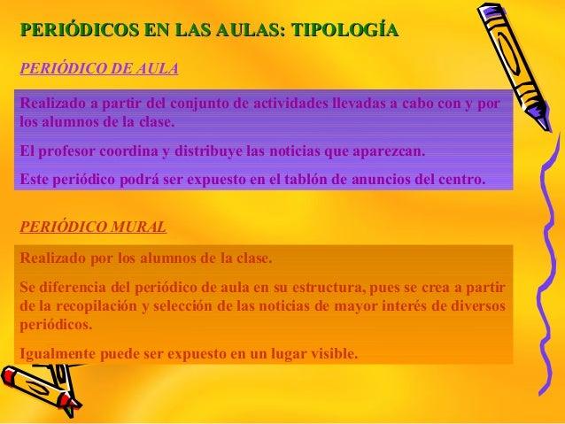 PERIÓDICOS EN LAS AULAS: TIPOLOGÍAPERIÓDICOS EN LAS AULAS: TIPOLOGÍARealizado a partir del conjunto de actividades llevada...