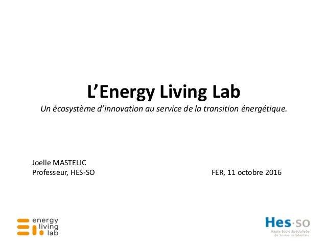 L'Energy Living Lab Un écosystème d'innovation au service de la transition énergétique. Joelle MASTELIC Professeur, HES-SO...