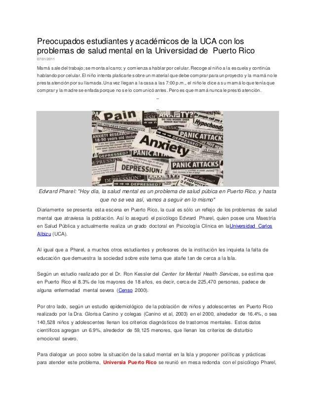 Preocupados estudiantes y académicos de la UCA con los  problemas de salud mental en la Universidad de Puerto Rico  07/01/...