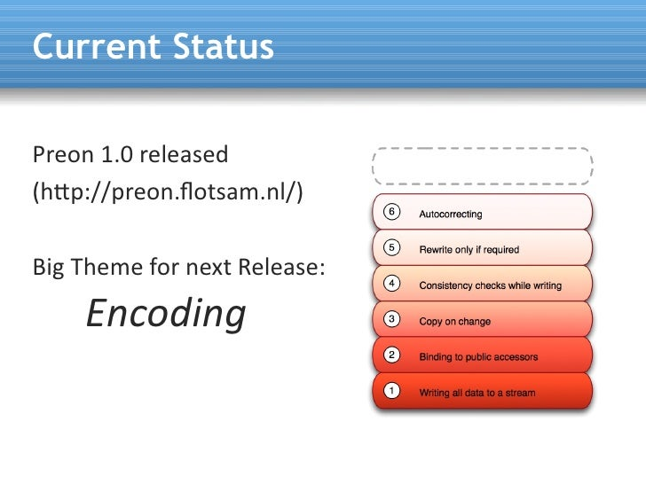 Current Status  Preon 1.0 released (htp://preon.fotsam.nl/)  Big Theme for next Release:     Encoding