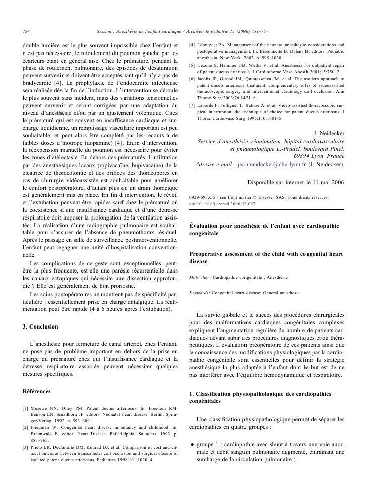 754                                  Session : Anesthésie de l'enfant cardiaque / Archives de pédiatrie 13 (2006) 751–757 ...