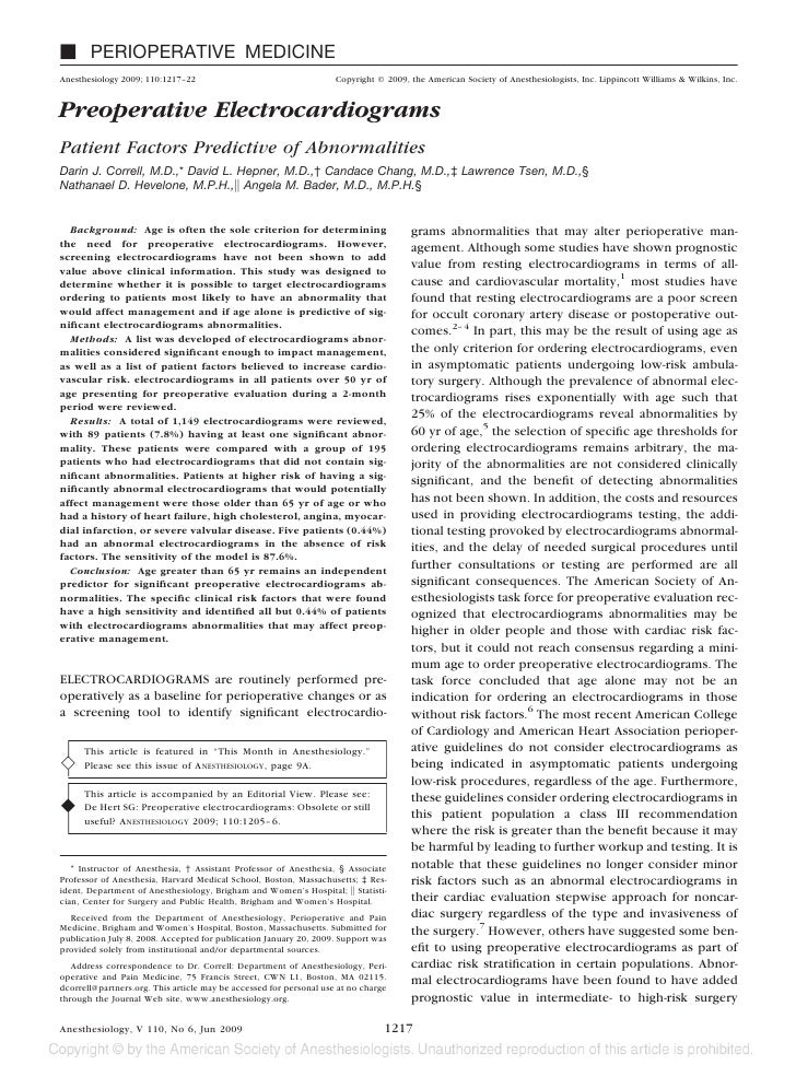 PERIOPERATIVE MEDICINE Anesthesiology 2009; 110:1217–22                                    Copyright © 2009, the American ...