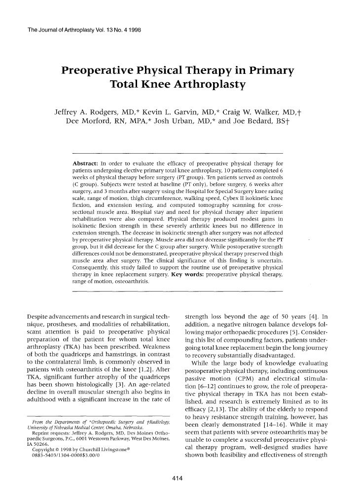 The Journal of Arthroplasty Vol. 13 No. 4 1998              Preoperative Physical Therapy in Primary                      ...