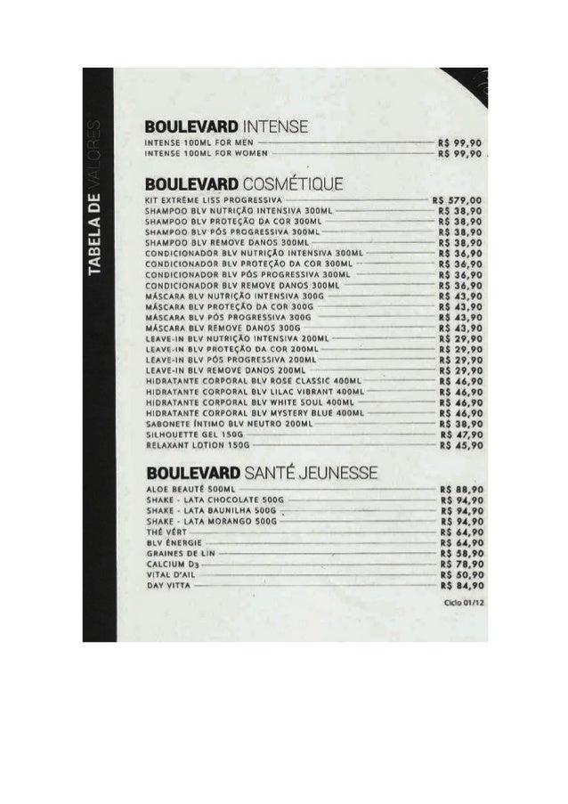 TABELA DE  BOULEVARD INTENSE  INTENSE 100m FOR MEN ~  RS 99,90  ! NÍENSE 100m.  :on women -r ›- -- as 99,90 .  BOULEVARD C...