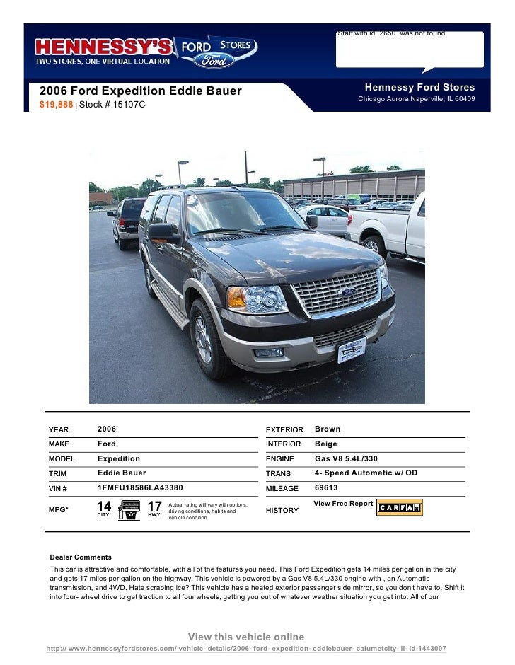 Staff with id `2650` was not found.2006 Ford Expedition Eddie Bauer                                                       ...