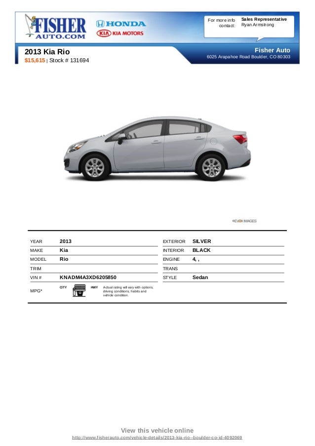 Fisher Auto Sales >> Pre Owned 2013 Kia Rio Boulder Co
