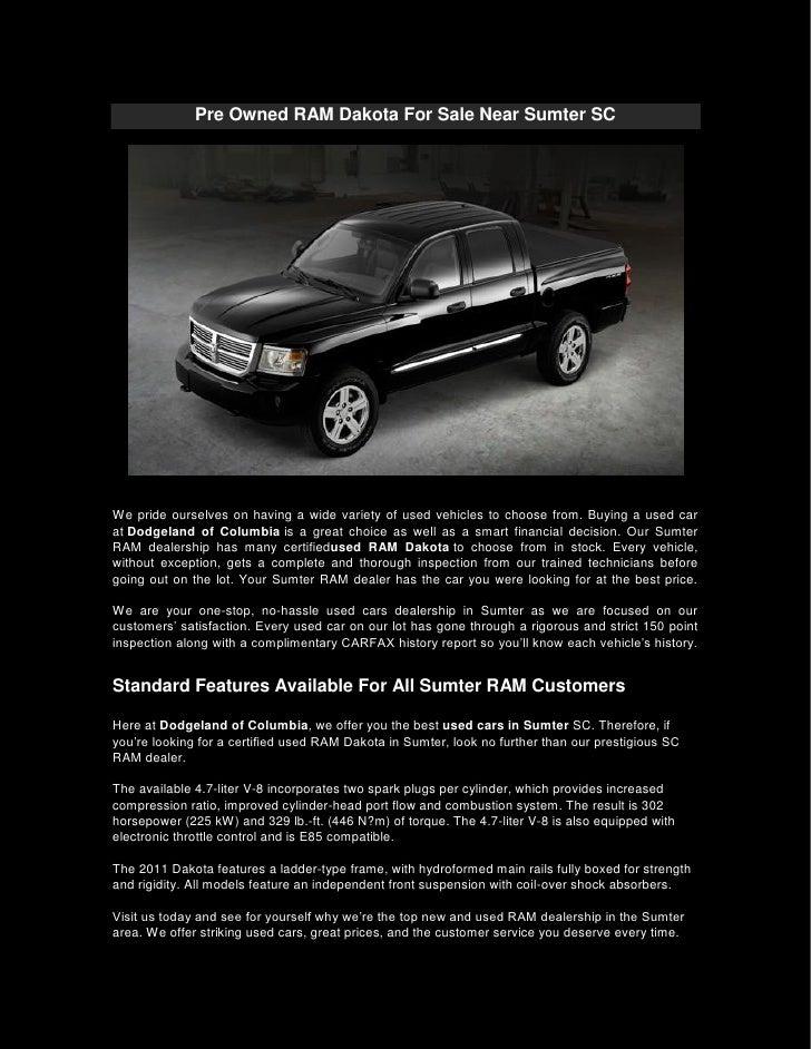 Car Dealerships In Sumter Sc >> Pre Owned 2011 Ram Dakota For Sale Near Sumter Sc