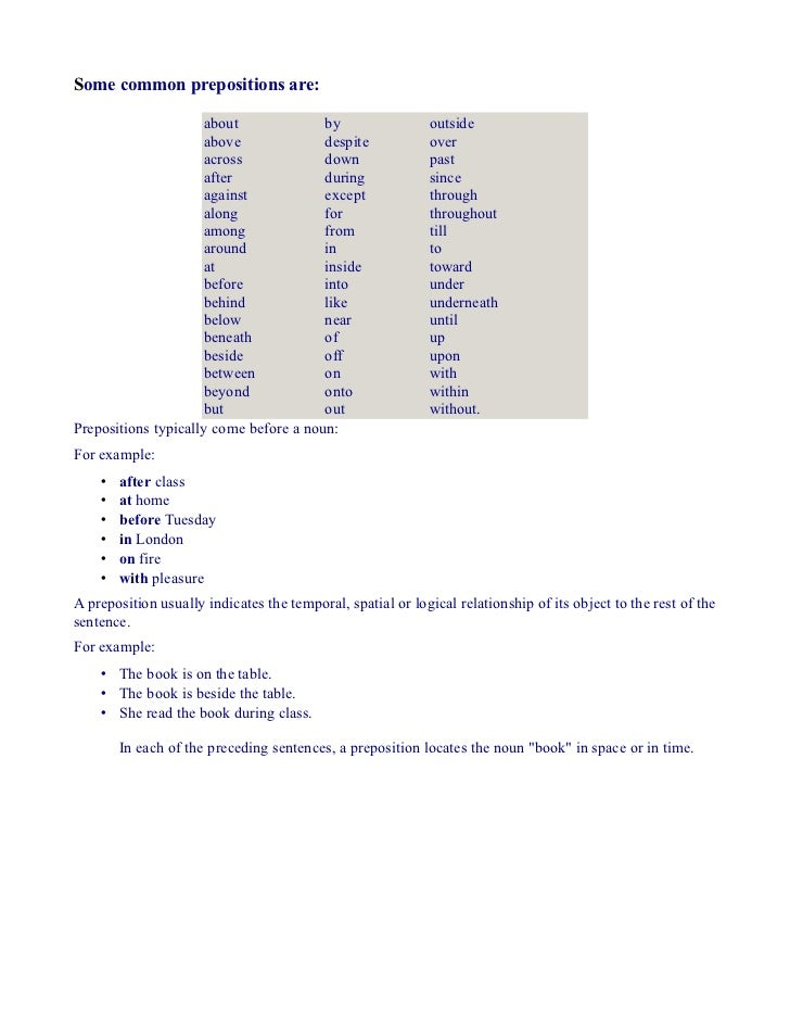 Some common prepositions are:                     about              by                  outside                     above...