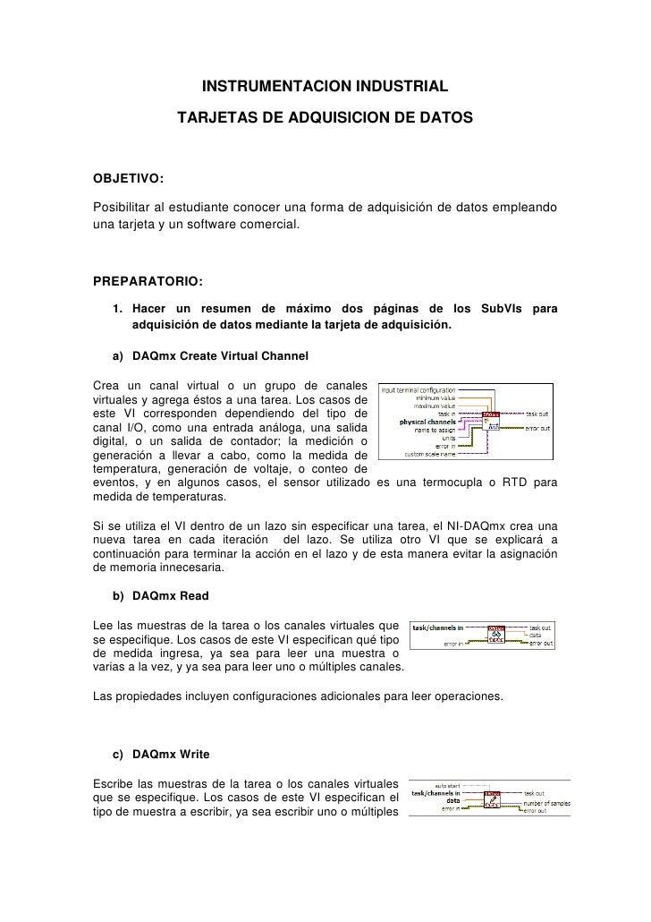 INSTRUMENTACION INDUSTRIAL                TARJETAS DE ADQUISICION DE DATOSOBJETIVO:Posibilitar al estudiante conocer una f...