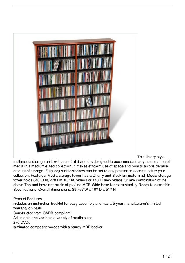 This library stylemultimedia storage unit, with a central divider, is designed to accommodate any combination ofmedia in a...