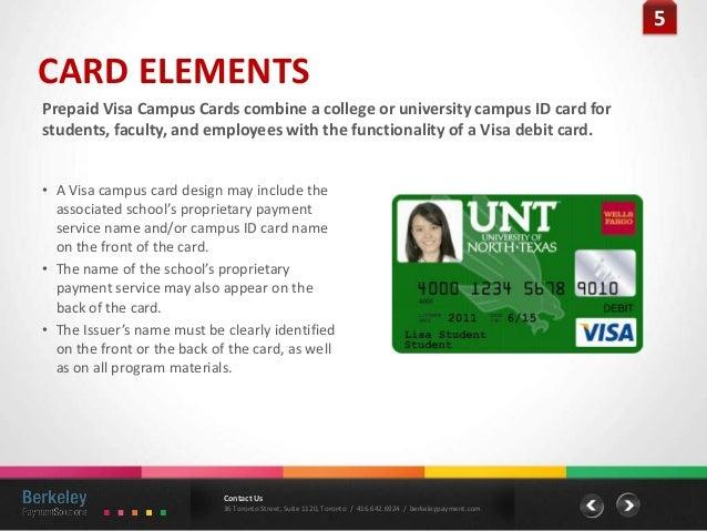 5 5CARD ELEMENTSPrepaid Visa Campus Cards