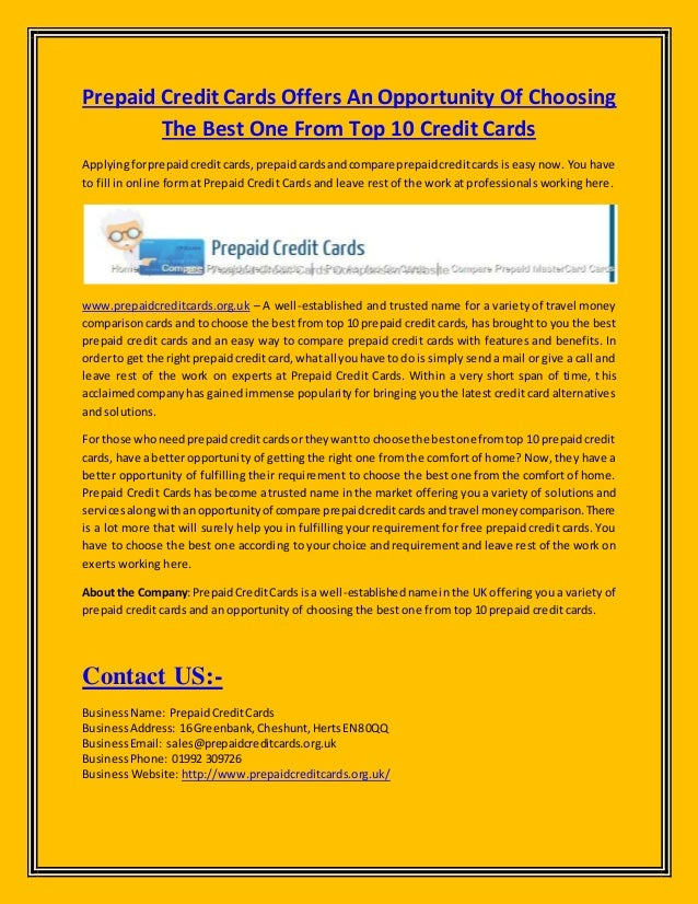 Prepaid credit cards offers an opportunity of choosing the best one f prepaid credit cards offers an opportunity of choosing the best one from top 10 credit cards colourmoves