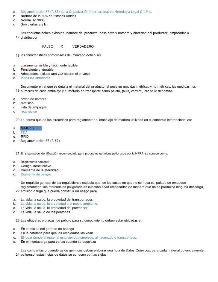 a      Reglamentación 87 (R 87) de la Organización Internacional de Metrología Legal O.I.M.L. b      Normas de la FDA de E...