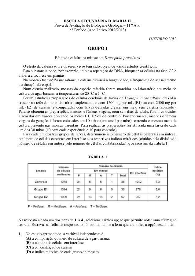 ESCOLA SECUNDÁRIA D. MARIA II                       Prova de Avaliação de Biologia e Geologia – 11.º Ano                  ...