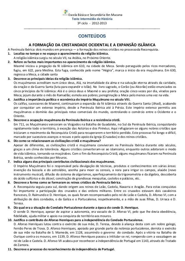 Escola Básica e Secundária Ibn MucanaTeste Intermédio de História3º ciclo - 2012-2013_____________________________________...