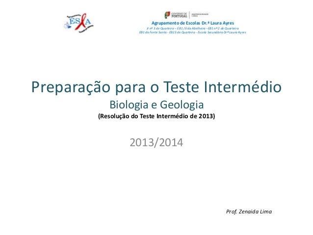 Preparação para o Teste Intermédio Biologia e Geologia (Resolução do Teste Intermédio de 2013) 2013/2014 Agrupamento de Es...