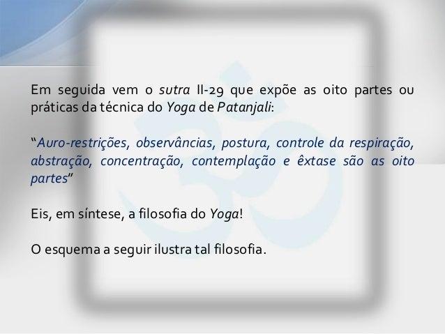 """Em seguida vem o sutra II-29 que expõe as oito partes oupráticas da técnica do Yoga de Patanjali:""""Auro-restrições, observâ..."""