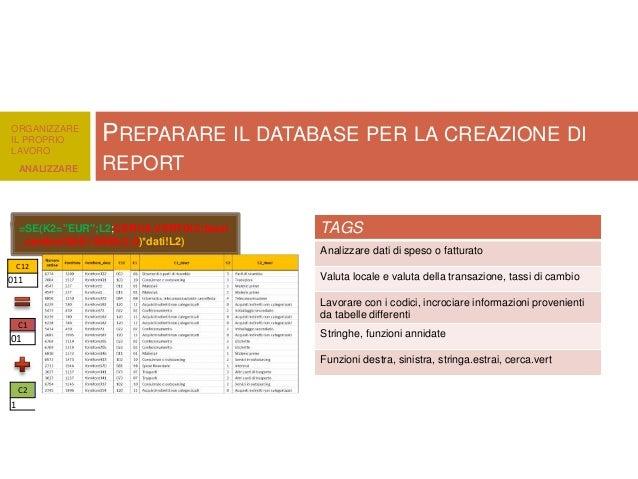 """ORGANIZZARE IL PROPRIO LAVORO ANALIZZARE  PREPARARE IL DATABASE PER LA CREAZIONE DI REPORT  =SE(K2=""""EUR"""";L2;CERCA.VERT(K2;..."""