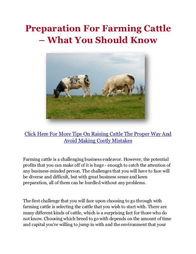 Preparation For Farming Cattle    – What You Should KnowClick Here For More Tips On Raising Cattle The Proper Way And     ...