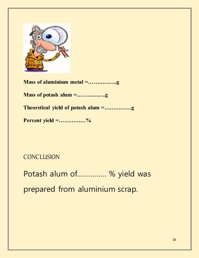 preparation of potash alum An alum / ˈ æ l ə m / is a type in food preparation (in baking powder and pickling), and to fire-proof paper and cloth alumina, and potash.