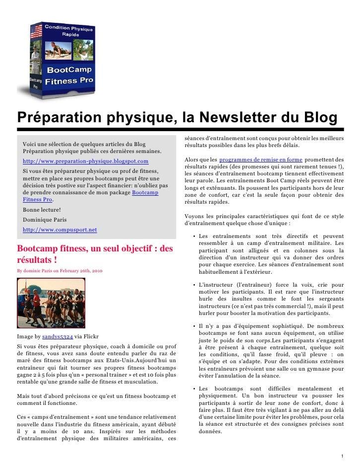 Préparation physique, la Newsletter du Blog                                                                       séances ...