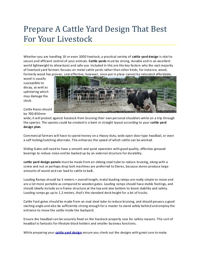 Prepare A Cattle Yard Design That Best For Your Livestock