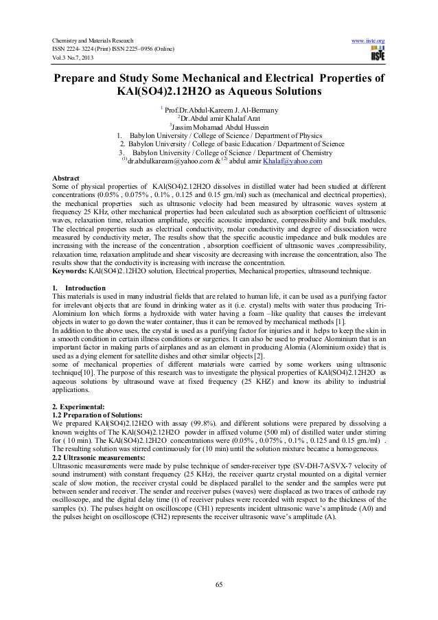 Chemistry and Materials Research www.iiste.org ISSN 2224- 3224 (Print) ISSN 2225- 0956 (Online) Vol.3 No.7, 2013 65 Prepar...