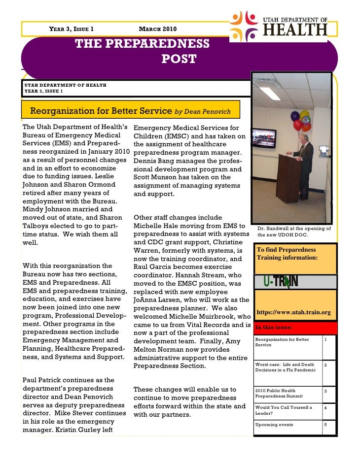 YEAR 3, ISSUE 1              MARCH 2010                 THE PREPAREDNESS                          POST UTAH DEPARTMENT OF ...