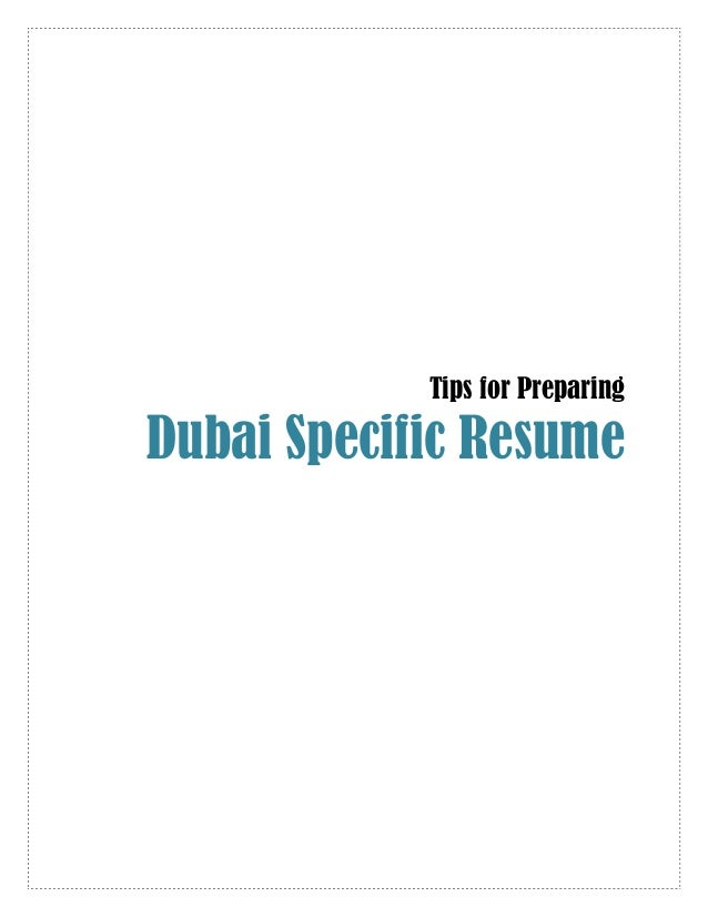 tips to prepare dubai specific cv