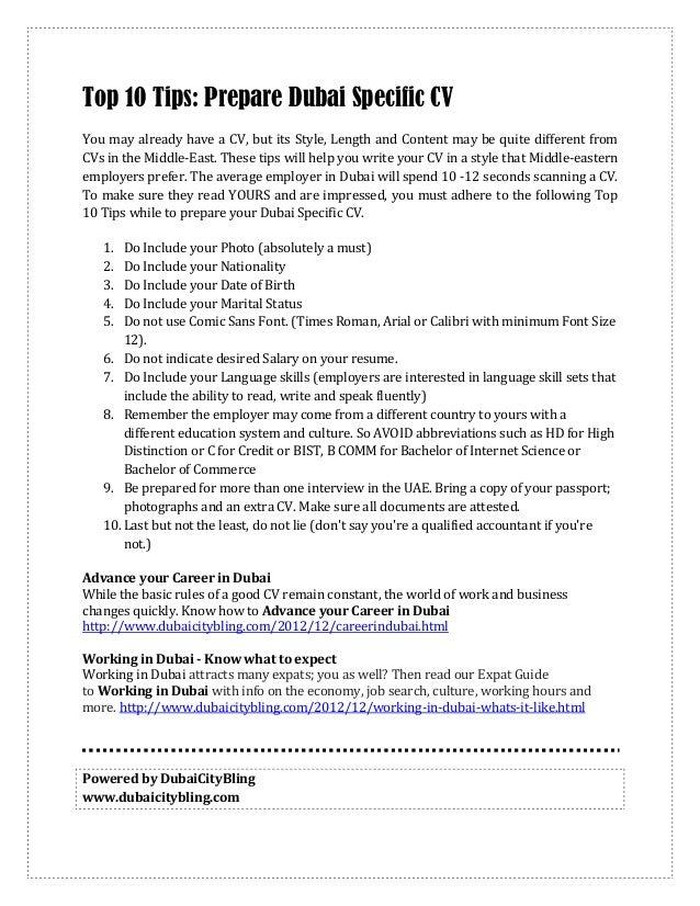 Tips For PreparingDubai Specific Resume; 2.