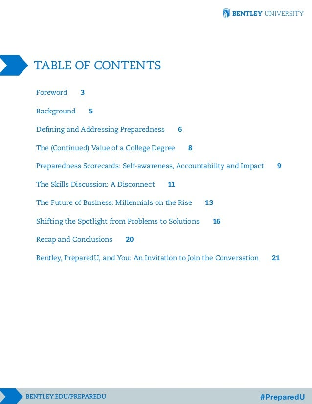 TABLE OF CONTENTS Foreword Background  3 5 6  Defining and Addressing Preparedness The (Continued) Value of a College Degr...
