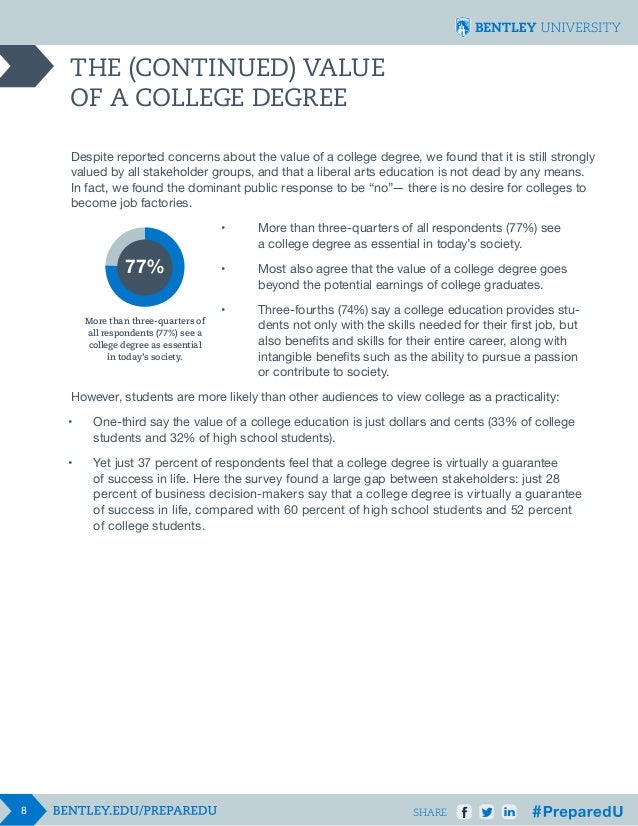 THE (CONTINUED) VALUE OF A COLLEGE DEGREE Despite reported concerns about the value of a college degree, we found that it ...
