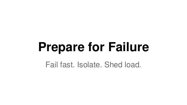 Prepare for Failure  Fail fast. Isolate. Shed load.