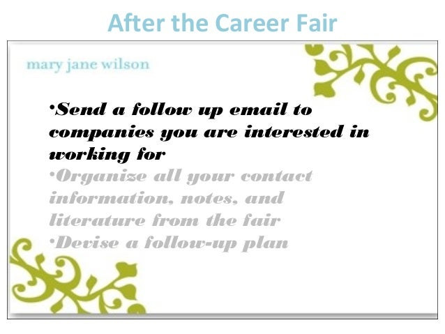 Example Of A Follow Up Email After Job Fair Plymouth Dome