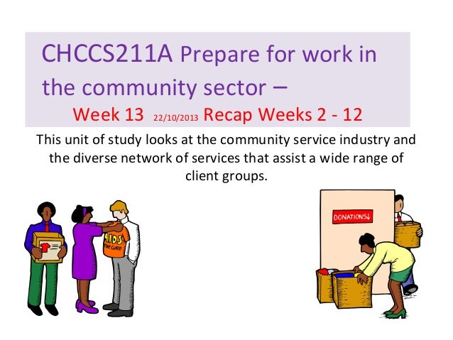 CHCCS211A Prepare for work in the community sector – Week 13  22/10/2013  Recap Weeks 2 - 12  This unit of study looks at ...