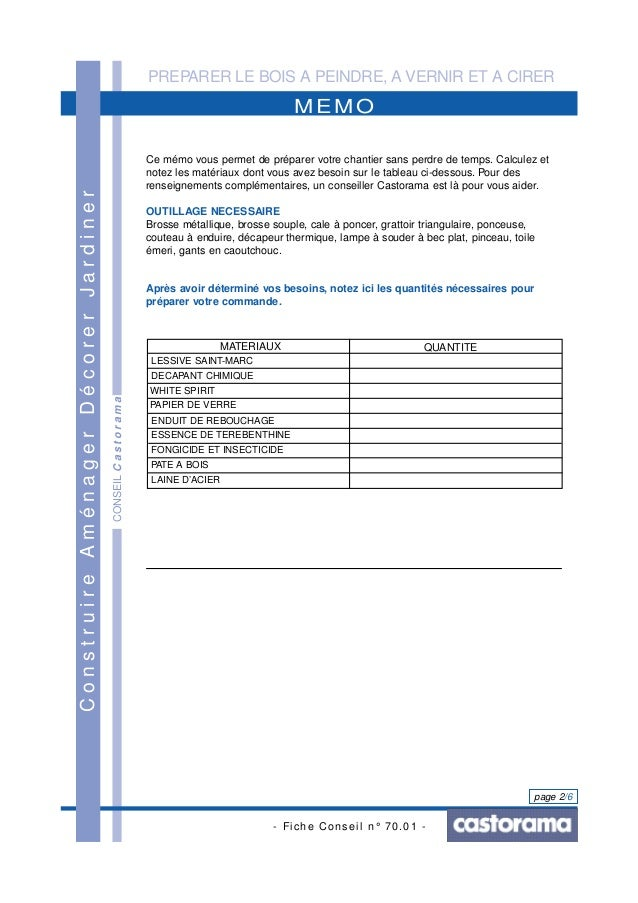 PREPARER LE BOIS A PEINDRE, A VERNIR ET A CIRER - Fiche Conseil n° 70.01 - page 2/6 CONSEILCastorama MEMO ConstruireAménag...