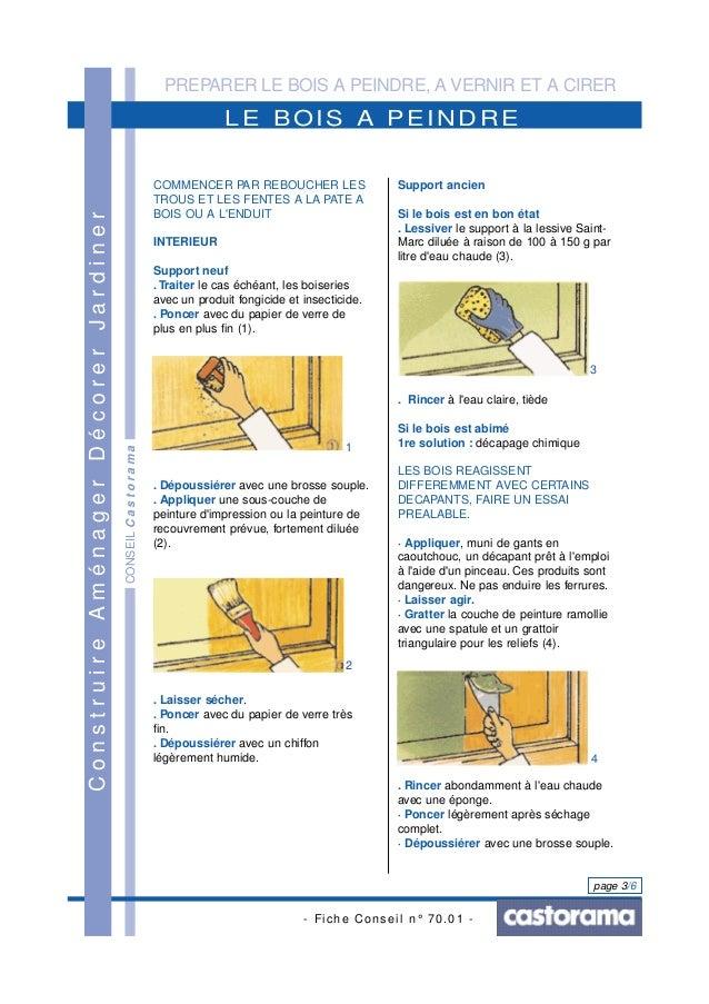 PREPARER LE BOIS A PEINDRE, A VERNIR ET A CIRER - Fiche Conseil n° 70.01 - page 3/6 CONSEILCastorama LE BOIS A PEINDRE Con...