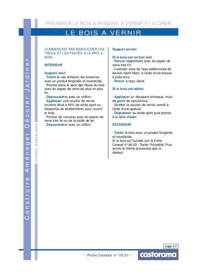 PREPARER LE BOIS A PEINDRE, A VERNIR ET A CIRER - Fiche Conseil n° 70.01 - page 5/6 CONSEILCastorama LE BOIS A VERNIR Cons...