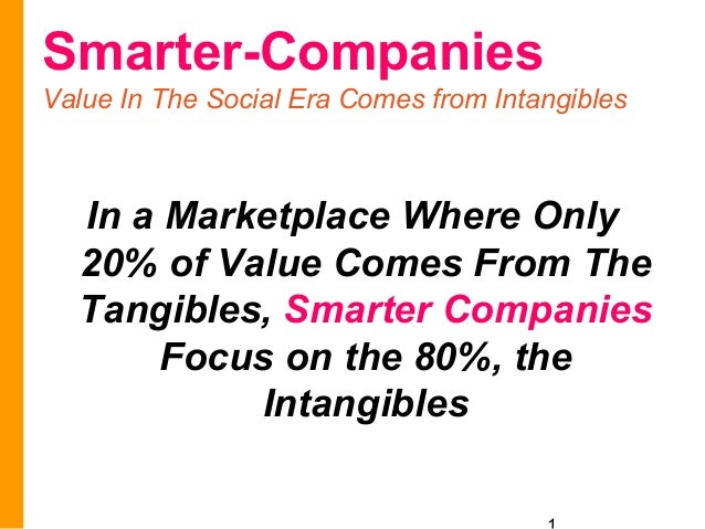 Smarter-CompaniesValue In The Social Era Comes from Intangibles  In a Marketplace Where Only  20% of Value Comes From The ...