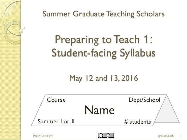 Summer GraduateTeaching Scholars Preparing toTeach 1: Student-facing Syllabus May 12 and 13, 2016 1sgts.ucsd.edu Name Cour...